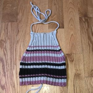 Benetton cropped knit halter top